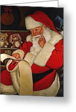 Thoughtful Santa Greeting Card by Doug Strickland