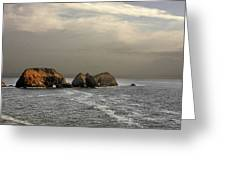 Three Arch Rocks - Oceanside Near Cape Meares - Oregon Greeting Card by Christine Till