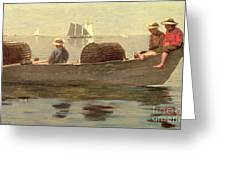 Three Boys In A Dory Greeting Card by Winslow Homer
