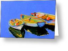 Three Colourful Boats Greeting Card by Sue Gardner