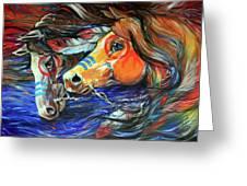 Three Feathers Indian War Ponies Greeting Card by Marcia Baldwin