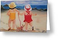 Three For The Beach Greeting Card by Joni McPherson