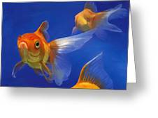 Three Goldfish Greeting Card by Simon Sturge