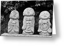 Three Happy Buddhas Greeting Card by Dean Harte