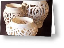 Three Interlaced Design Wheel Thrown Pots Greeting Card by Carolyn Coffey Wallace