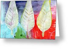 Three Leaves Of Good Greeting Card by Linda Woods