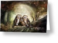 Three Owl Moon Greeting Card by Carol Cavalaris