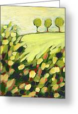 Three Trees On A Hill Greeting Card by Jennifer Lommers