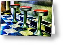 Three White Steamer Stools Greeting Card by Julie Dant