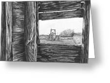 Through The Barn Greeting Card by Dean Herbert