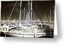 Through The Masts Greeting Card by John Rizzuto