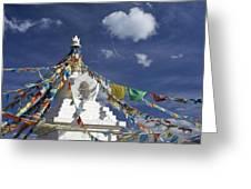 Tibetan Stupa With Prayer Flags Greeting Card by Michele Burgess