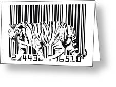 Tiger Barcode Greeting Card by Michael Tompsett