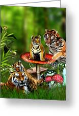 Tiger Toadstools Greeting Card by Julie L Hoddinott