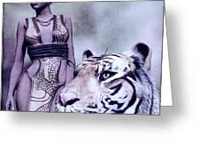 Tigress Greeting Card by Maynard Ellis