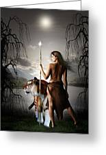 Tigress Warrior Of The Moon Greeting Card by Julie L Hoddinott