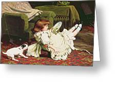 Time To Play Greeting Card by Charles Burton Barber