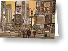 Times Square Greeting Card by Guido Borelli