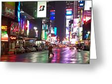 Times Square in the rain 2 Greeting Card by Anita Burgermeister