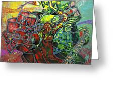 To The Beat On 2nd Street Greeting Card by Larry Poncho Brown