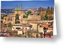 Toledo Town View Greeting Card by Joan Carroll