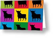 Toro Pop Art Greeting Card by Michael Tompsett
