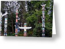 Totem Poles Greeting Card by Will Borden