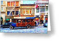 Touring The Streets of San Francisco . Photo Artwork Greeting Card by Wingsdomain Art and Photography