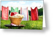 Towels Drying On The Clothesline Greeting Card by Sandra Cunningham
