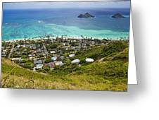 Town of Kailua with Mokulua Islands Greeting Card by Inti St. Clair
