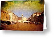 Town Square #edit - #hvar, #croatia Greeting Card by Alan Khalfin