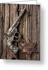 Toy Gun And Ranger Badge Greeting Card by Garry Gay
