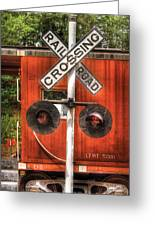 Train - Yard - Railroad Crossing Greeting Card by Mike Savad
