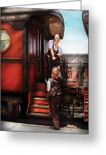 Train - Yard - Receiving A Telegram  Greeting Card by Mike Savad