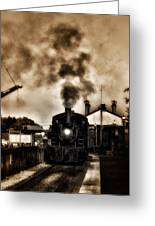 Train Coming In The Station Greeting Card by Bill Cannon