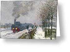 Train In The Snow Or The Locomotive Greeting Card by Claude Monet