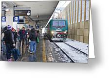 Train Station Under The Snow Greeting Card by Andre Goncalves