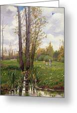 Tree Beside Water  Greeting Card by Ernest Le Villain