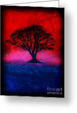 Tree Of Life - Red Sky Greeting Card by Robert R Splashy Art