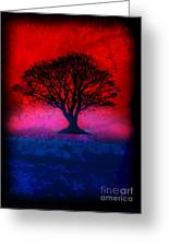 Tree Of Life - Red Sky Greeting Card by Robert R Splashy Art