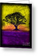 Tree Of Life - Yellow Sunburst Sky Greeting Card by Robert R Splashy Art