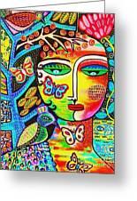Tree Of Life Paradise Goddess Greeting Card by Sandra Silberzweig