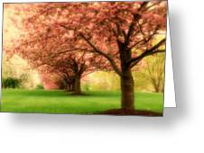 Trees In A Row Greeting Card by Angie Tirado