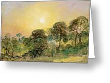 Trees On Hampstead Heath At Sunset Greeting Card by John Constable