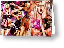 Tribute To Lady Gaga Greeting Card by Alex Martoni