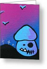 Tricky Zombie Mushroom Greeting Card by Jera Sky