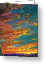 Triptych 1 Desert Sunset Greeting Card by Frances Marino