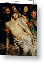 Triptych Of Christ On The Straw Greeting Card by Rubens