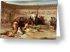 Triumph Of Faith    Christian Martyrs In The Time Of Nero Greeting Card by Eugene Romain Thirion