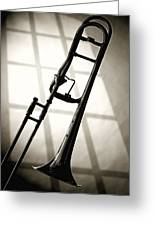 Trombone Silhouette And Window Greeting Card by M K  Miller